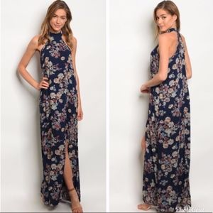 Dresses & Skirts - High neck floral maxi dress with racer back
